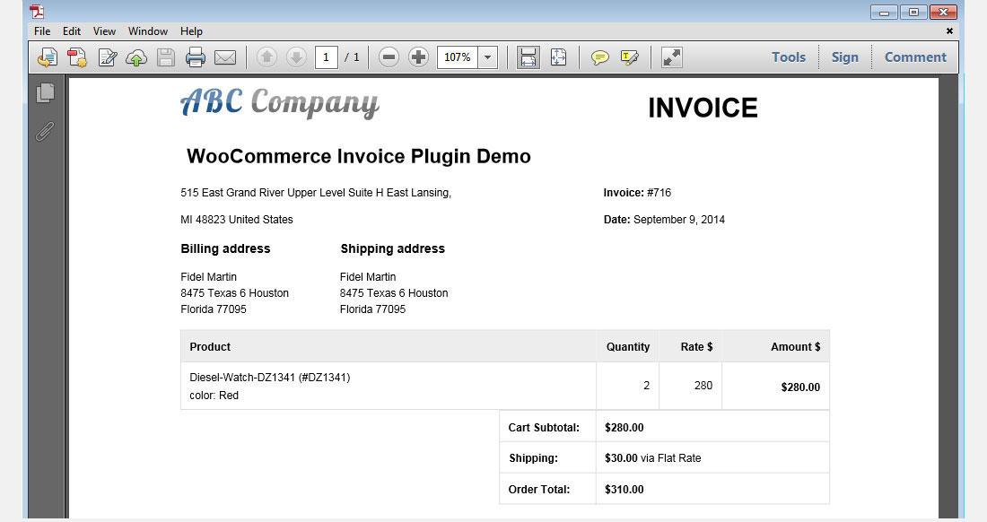 woocommerce invoice generation