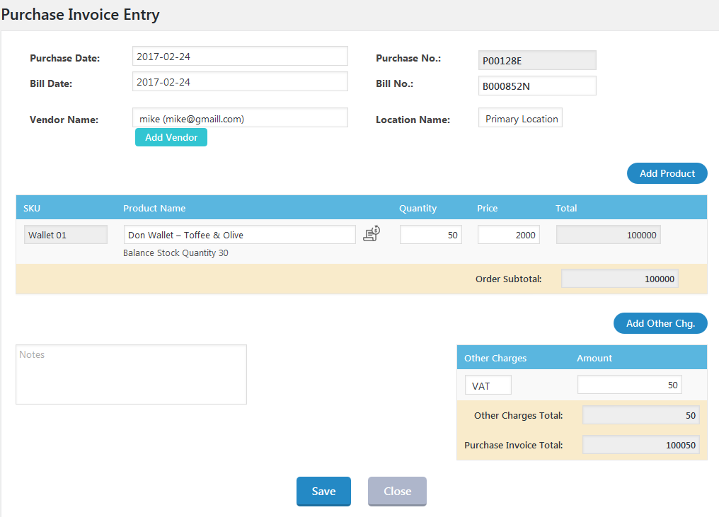WooInventory Purchase Invoice Entry
