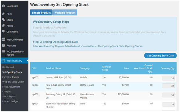 WooInventory Set Opening Stock