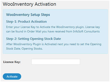 WooInventory Plugin Activation