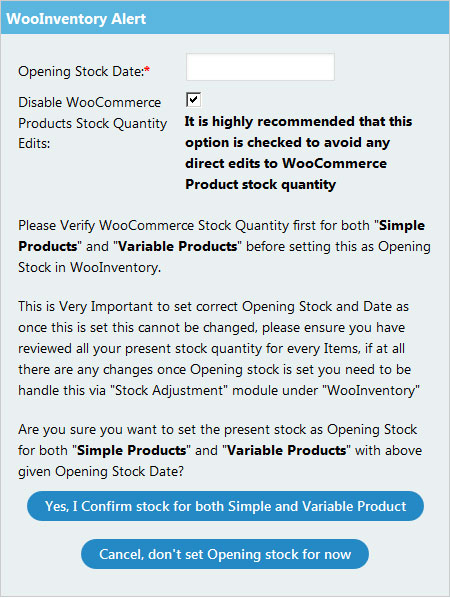 WooInventory Opening Stock Date Alert